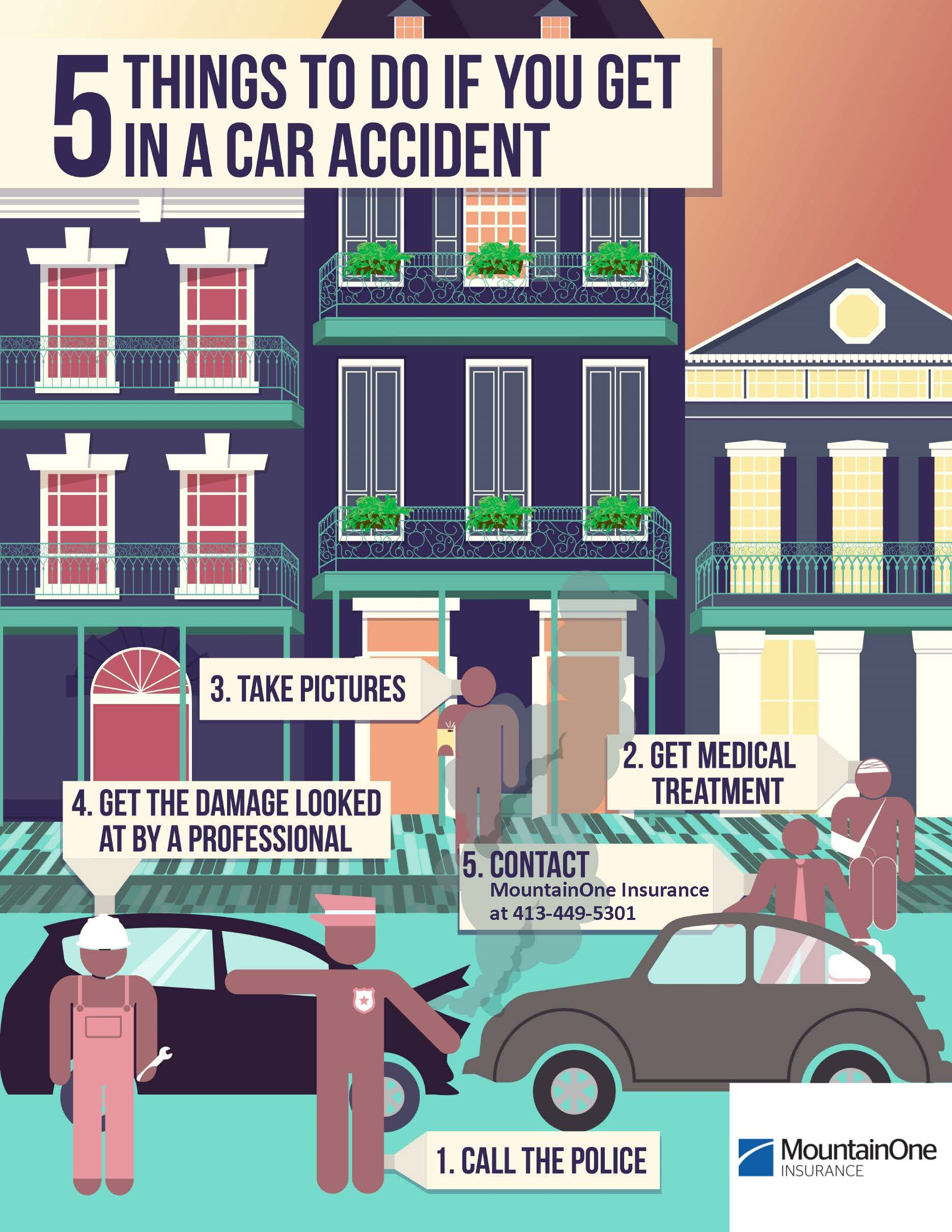 5 things to do if you are in car accident infographic