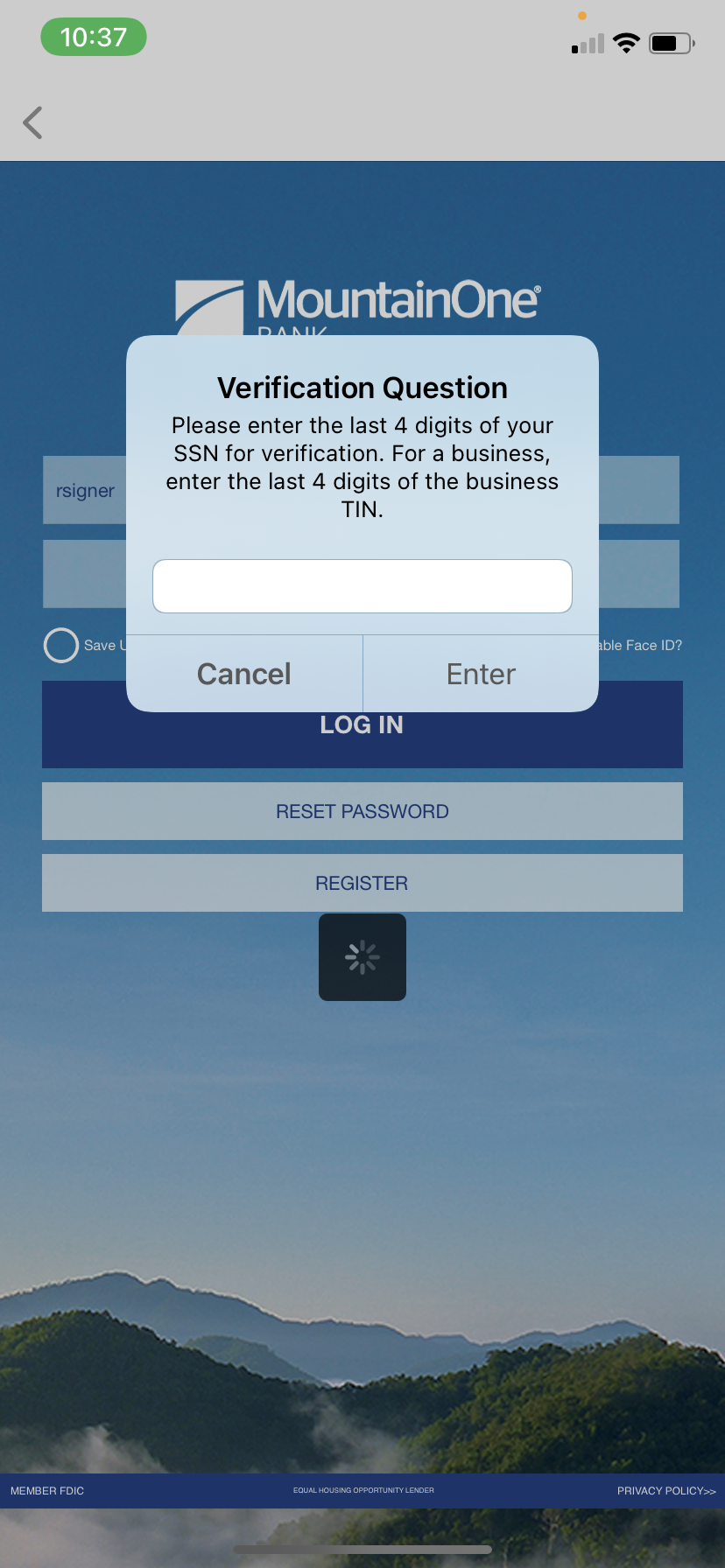 Login verification question asking for last four digits of SSN or TIN