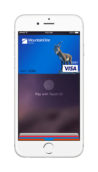 smartphone showing debit card in Apple Pay