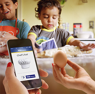 smartphone with VISA checkout on screen